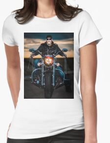 Skeggy Cruiser on Ebony front view no helmet Womens Fitted T-Shirt