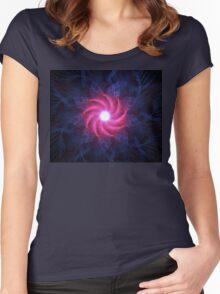 Magenta Flower Galaxy Women's Fitted Scoop T-Shirt