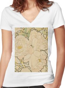 Alphonse Mucha - Peonies 1897  Garden, love, dress, fashion,spring, summer, peonies, pink, blossom, beauty Women's Fitted V-Neck T-Shirt