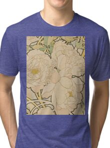Alphonse Mucha - Peonies 1897  Garden, love, dress, fashion,spring, summer, peonies, pink, blossom, beauty Tri-blend T-Shirt