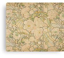 Alphonse Mucha - Peonies 1897  Garden, love, dress, fashion,spring, summer, peonies, pink, blossom, beauty Canvas Print