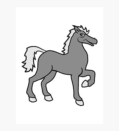 cool riding horse stallion equestrian comic cartoon Photographic Print