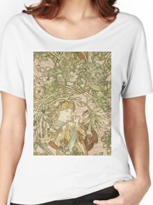 Alphonse Mucha - Lady With Daisy 1898 Women's Relaxed Fit T-Shirt