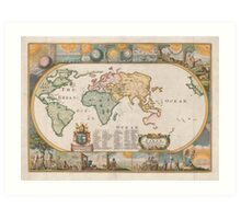 Map of the Earth by Joseph Moxon (1681) Art Print