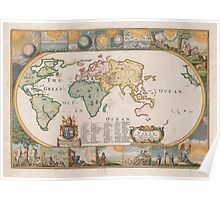 Map of the Earth by Joseph Moxon (1681) Poster