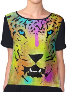 POP Tiger - Colorful Paint Splatters and Drips - Stained Canvas Art  Chiffon Top