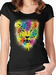 POP Tiger - Colorful Paint Splatters and Drips - Stained Canvas Art  Women's Fitted Scoop T-Shirt