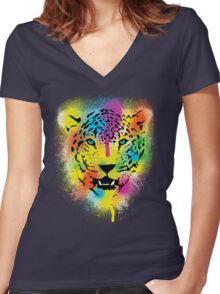POP Tiger - Colorful Paint Splatters and Drips - Stained Canvas Art  Women's Fitted V-Neck T-Shirt