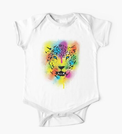 POP Tiger - Colorful Paint Splatters and Drips - Stained Canvas Art  One Piece - Short Sleeve