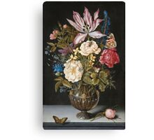 Vintage famous art - Ambrosius Bosschaerts The Elder - Still-Life With Flowers Canvas Print