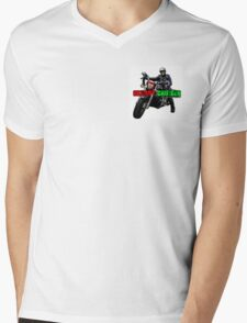 Skeggy Cruiser Motif Mens V-Neck T-Shirt