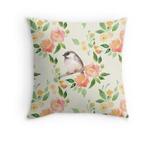 Watercolor floral background with a cute bird Throw Pillow