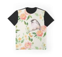 Watercolor floral background with a cut bird. Seamless pattern  Graphic T-Shirt