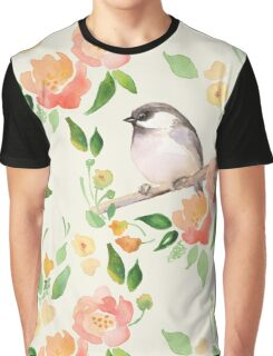 Watercolor floral background with a cute bird Graphic T-Shirt