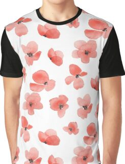 Floral background with red watercolor flowers Graphic T-Shirt