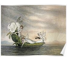 Vintage famous art - Amelia Jane Murray  - Fairies Floating Downstream In A Peapod Poster