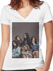 FIFTH HARMONY BILLBOARD Women's Fitted V-Neck T-Shirt