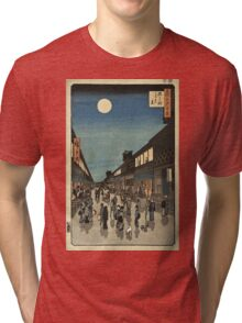 Vintage famous art - Ando Hiroshige  - 100 Famous Views Of Edo Night View Saruwaka Street Tri-blend T-Shirt
