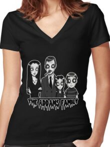 The Addams Family Portrait Women's Fitted V-Neck T-Shirt