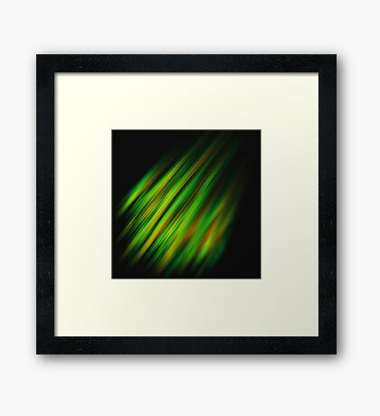 Colorful neon green brush strokes on dark gray Framed Print