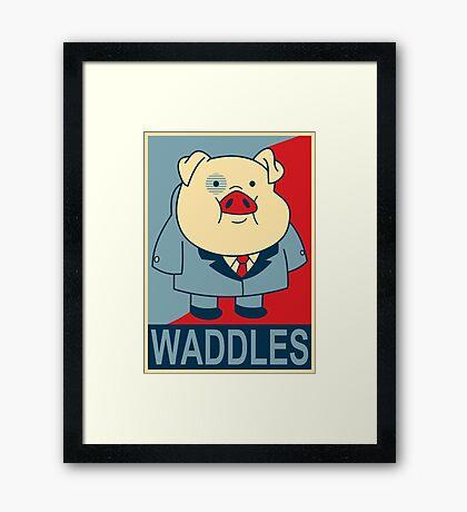 "Waddles- ""Hope"" Poster Parody Framed Print"