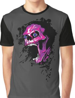 Wicked Skull With Paint Splatters Graphic T-Shirt