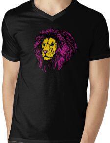 Lion Modern Pop Colors Mens V-Neck T-Shirt