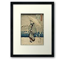 Ando Hiroshige -  Evening Snow At Asakusa Framed Print