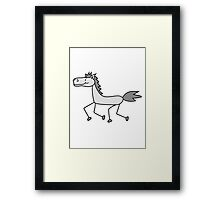 comic cartoon riding gallop pony horse funny sweet cute Framed Print