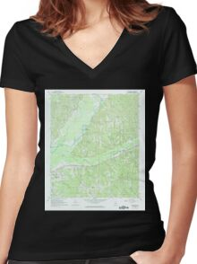 USGS TOPO Map Alabama AL Beatrice 303195 1967 24000 Women's Fitted V-Neck T-Shirt