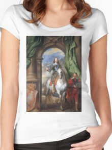 Vintage famous art - Anthony Van Dyck - Charles I With Monsieur De St Antoine Women's Fitted Scoop T-Shirt