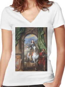 Vintage famous art - Anthony Van Dyck - Charles I With Monsieur De St Antoine Women's Fitted V-Neck T-Shirt