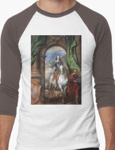 Vintage famous art - Anthony Van Dyck - Charles I With Monsieur De St Antoine Men's Baseball ¾ T-Shirt