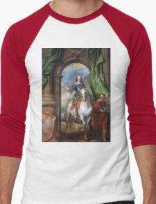 Vintage famous art - Anthony Van Dyck - Charles I With Monsieur De St Antoine Men's Baseball ¾ T-Shirt