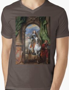 Vintage famous art - Anthony Van Dyck - Charles I With Monsieur De St Antoine Mens V-Neck T-Shirt