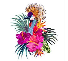 Crowned Crane and Tropical Flowers Photographic Print