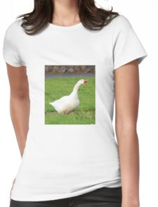 Goose bird print Womens Fitted T-Shirt