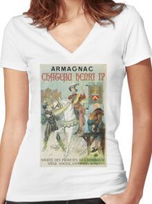 Vintage famous art - Poster - Armagnac Chateau Henry Iv  Women's Fitted V-Neck T-Shirt
