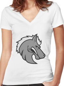 angry angry public stallion logo design cool head sour dangerous horse Women's Fitted V-Neck T-Shirt