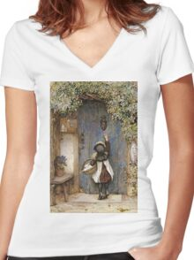 Vintage famous art - Arthur Hopkins - The Visitor  Women's Fitted V-Neck T-Shirt