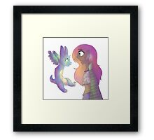 Adventure Girl and Cute Bunny Framed Print