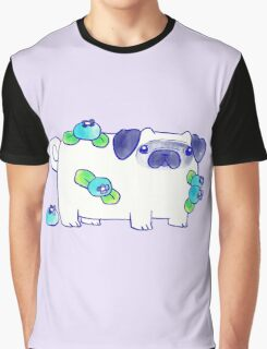 Blueberry Pug Watercolor Graphic T-Shirt