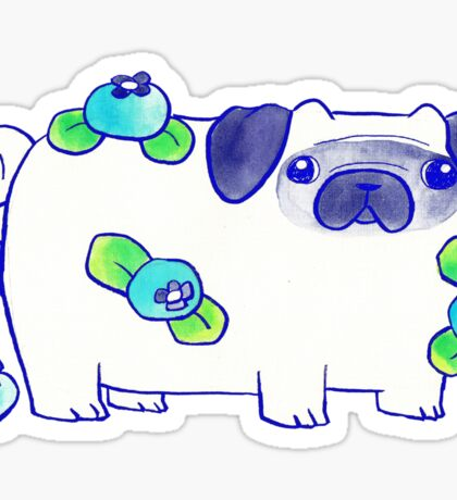 Blueberry Pug Watercolor Sticker