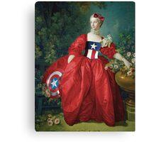 Lady Captain America, 18th Century Style Canvas Print