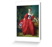 Lady Captain America, 18th Century Style Greeting Card