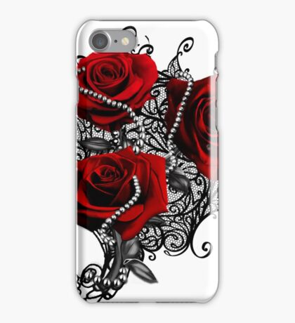 Red roses with pearls iPhone Case/Skin
