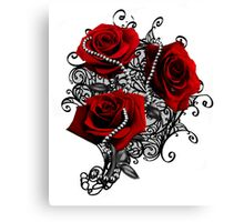 Red roses with pearls Canvas Print