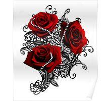 Red roses with pearls Poster