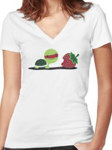 Strawberry Turtle Women's Fitted V-Neck T-Shirt