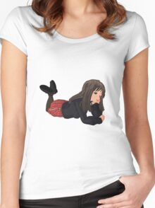 Daydream Anime Schoolgirl Women's Fitted Scoop T-Shirt